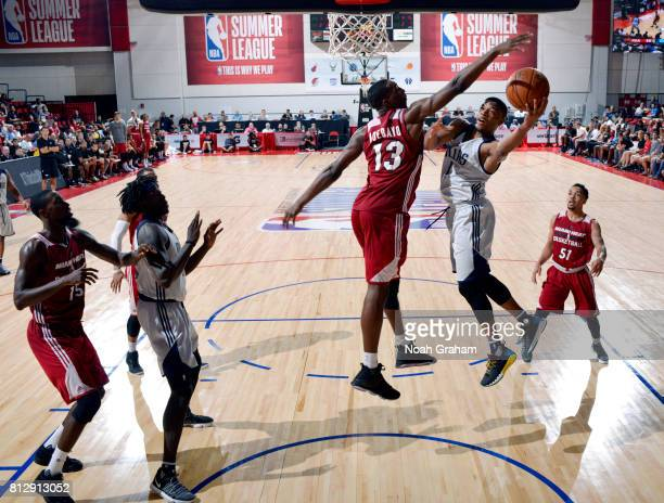 Dennis Smith Jr #1 of the Dallas Mavericks shoots the ball against the Miami Heat during the 2017 Summer League on July 11 2017 at the Cox Pavilion...