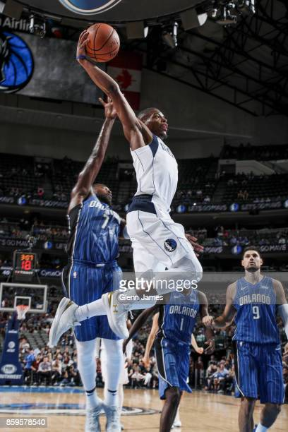 Dennis Smith Jr #1 of the Dallas Mavericks shoots the ball during a preseason game against the Orlando Magic on October 9 2017 at the American...
