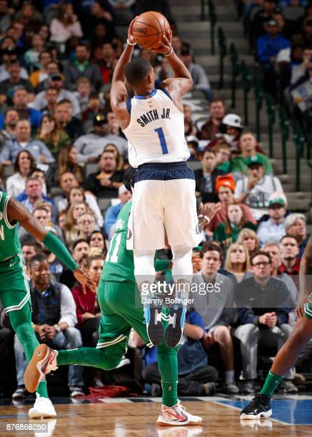 Dennis Smith Jr #1 of the Dallas Mavericks shoots the ball during the game against the Boston Celtics on November 20 2017 at the American Airlines...