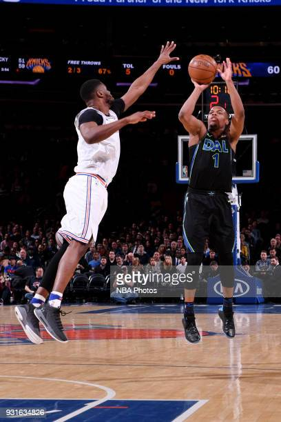 Dennis Smith Jr #1 of the Dallas Mavericks shoots the ball during the game against the New York Knicks on March 13 2018 at Madison Square Garden in...