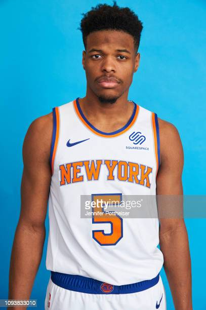 Dennis Smith Jr #1 of the New York Knicks poses a head shot on February 4 2019 at the MSG Training Facility in Tarrytown New York NOTE TO USER User...