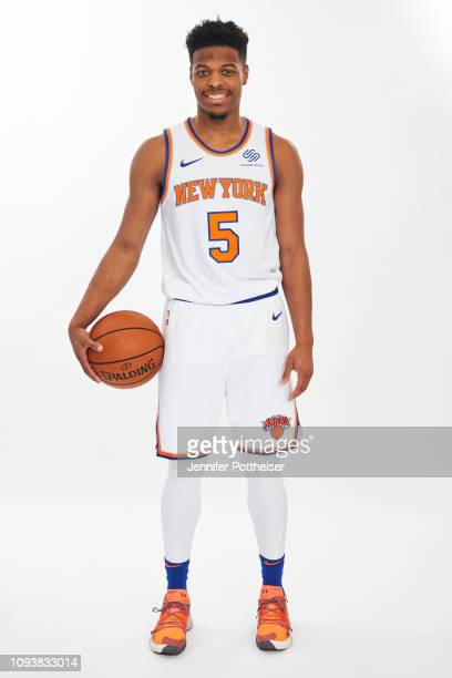 Dennis Smith Jr #1 of the New York Knicks poses a portrait on February 4 2019 at the MSG Training Facility in Tarrytown New York NOTE TO USER User...