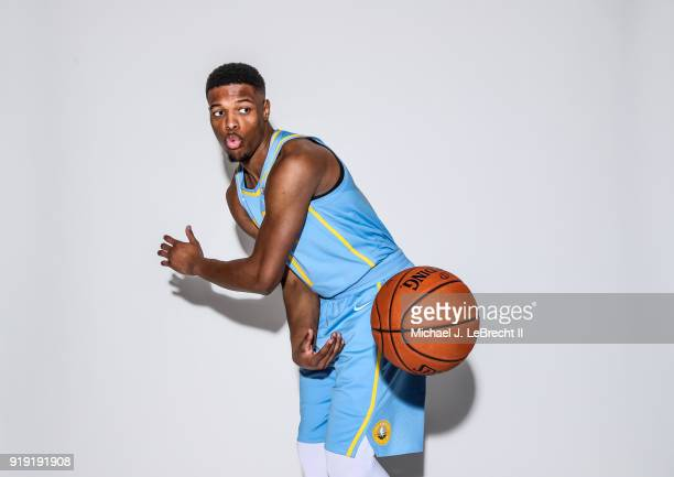 Dennis Smith Jr #1 of the USA team poses for a portrait prior to the Mountain Dew Kickstart Rising Stars Game during AllStar Friday Night as part of...