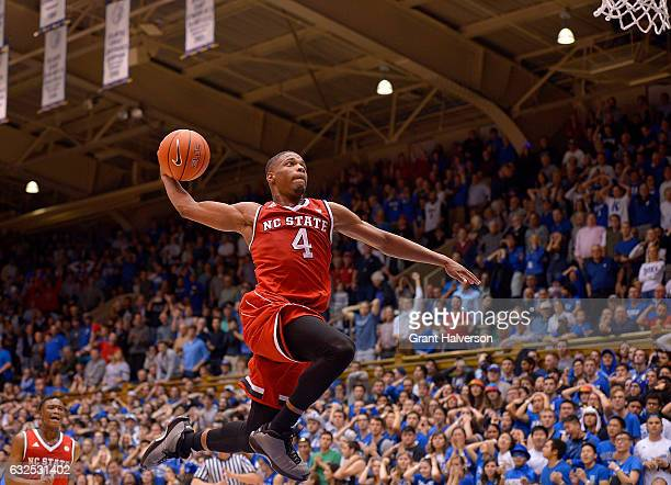 Dennis Smith Jr #4 of the North Carolina State Wolfpack drives in for a dunk as time expires during their win against the Duke Blue Devils at Cameron...