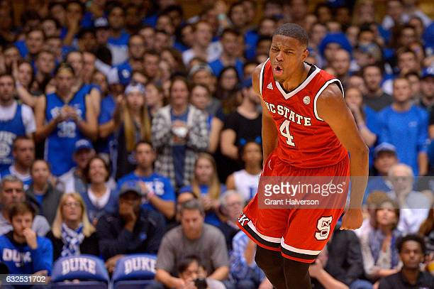 Dennis Smith Jr #4 of the North Carolina State Wolfpack reacts during their win against the Duke Blue Devils at Cameron Indoor Stadium on January 23...