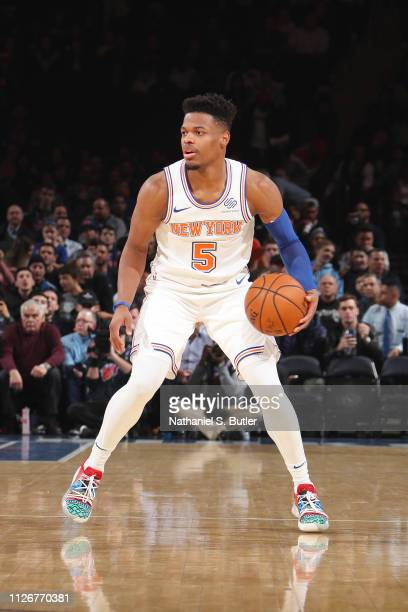 Dennis Smith Jr #5 of the New York Knicks dribbles the ball during the game against the Minnesota Timberwolves on February 22 2019 at Madison Square...