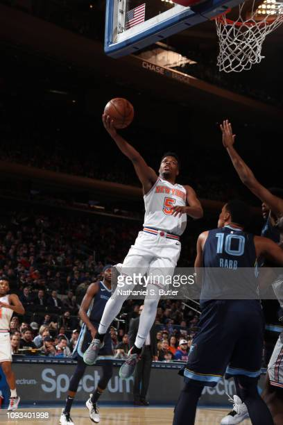 Dennis Smith Jr #5 of the New York Knicks drives to the basket against the Memphis Grizzlies on February 3 2019 at Madison Square Garden in New York...