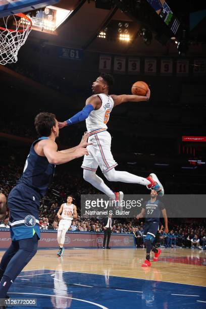Dennis Smith Jr #5 of the New York Knicks drives to the basket during the game against the Minnesota Timberwolves on February 22 2019 at Madison...