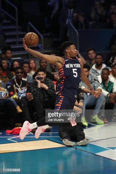 Dennis Smith Jr #5 of the New York Knicks dunks during the 2019 ATT Slam Dunk Contest as part of State Farm AllStar Saturday Night on February 16...