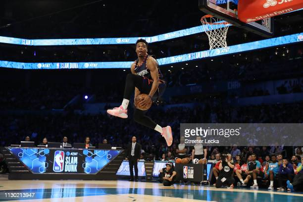 Dennis Smith Jr #5 of the New York Knicks dunks during the ATT Slam Dunk as part of the 2019 NBA AllStar Weekend at Spectrum Center on February 16...