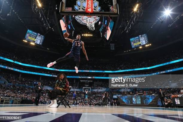 Dennis Smith Jr #5 of the New York Knicks dunks the ball during the 2019 ATT Slam Dunk Contest as part of the State Farm AllStar Saturday Night on...