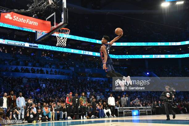Dennis Smith Jr. #5 of the New York Knicks dunks the ball during the 2019 AT&T Slam Dunk Contest during the 2019 AT&T Slam Dunk Contest as part of...