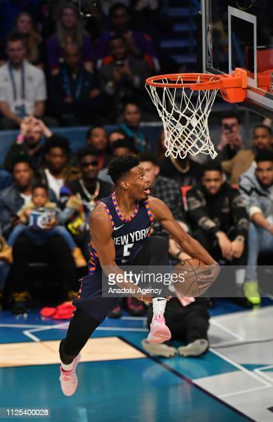 Dennis Smith Jr. #5 of the New York Knicks dunks the ball during the 2019 AT&T Slam Dunk Contest as part of the State Farm All-Star Saturday Night at...