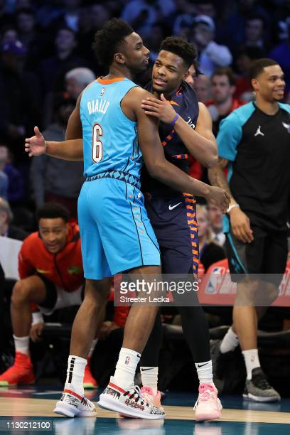 Dennis Smith Jr #5 of the New York Knicks embraces Hamidou Diallo of the Oklahoma City Thunder after the ATT Slam Dunk as part of the 2019 NBA...