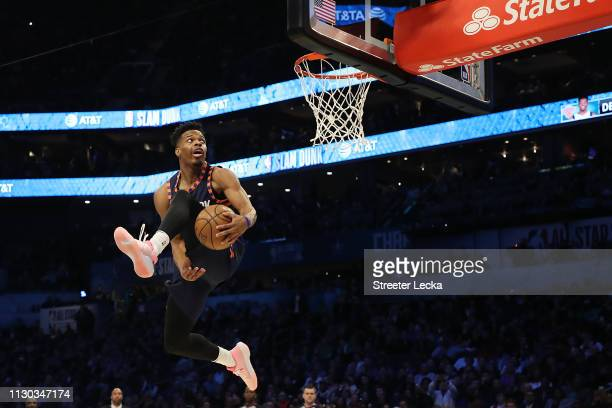 Dennis Smith Jr #5 of the New York Knicks goes up for a dunk during the ATT Slam Dunk as part of the 2019 NBA AllStar Weekend at Spectrum Center on...
