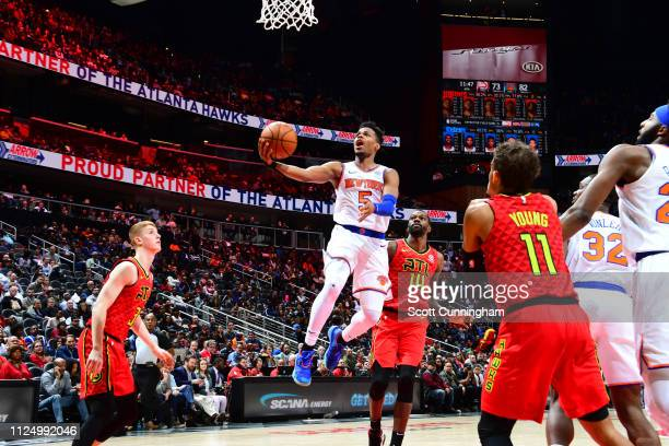 Dennis Smith Jr #5 of the New York Knicks goes up for shot against the Atlanta Hawks on February 14 2019 at State Farm Arena in Atlanta Georgia NOTE...