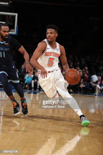 Dennis Smith Jr #5 of the New York Knicks handles the ball against the Memphis Grizzlies on February 3 2019 at Madison Square Garden in New York City...