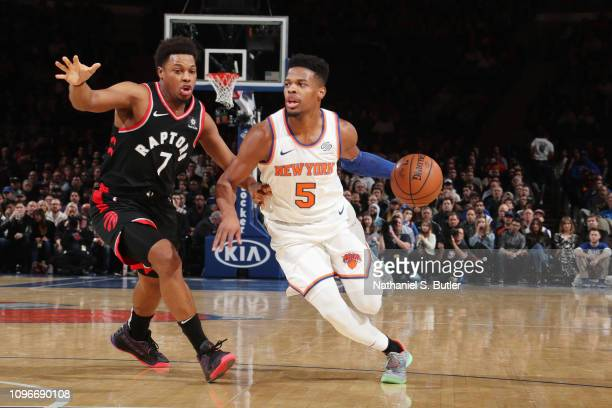 Dennis Smith Jr #5 of the New York Knicks handles the ball against the Toronto Raptors on February 9 2019 at Madison Square Garden in New York City...