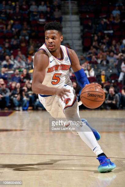 Dennis Smith Jr #5 of the New York Knicks handles the ball against the Cleveland Cavaliers on February 11 2019 at Quicken Loans Arena in Cleveland...