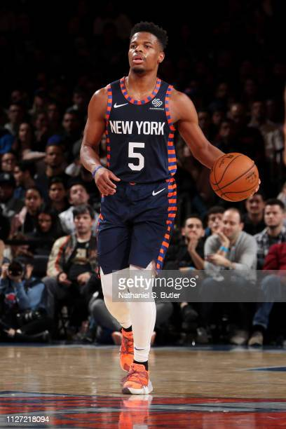 Dennis Smith Jr #5 of the New York Knicks handles the ball against the San Antonio Spurs on February 24 2019 at Madison Square Garden in New York...