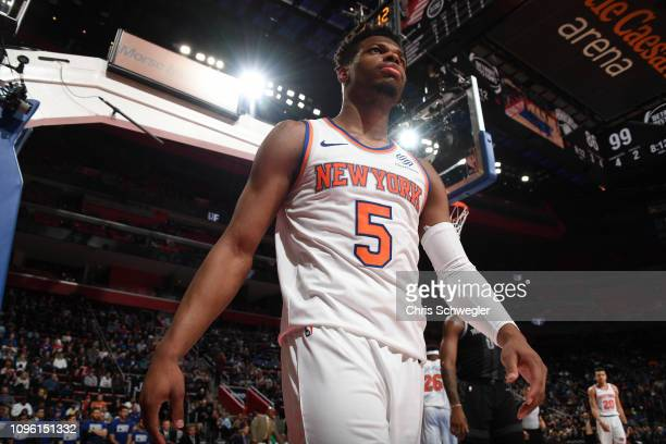 Dennis Smith Jr #5 of the New York Knicks looks on during a game against the Detroit Pistons on February 8 2019 at Little Caesars Arena in Detroit...