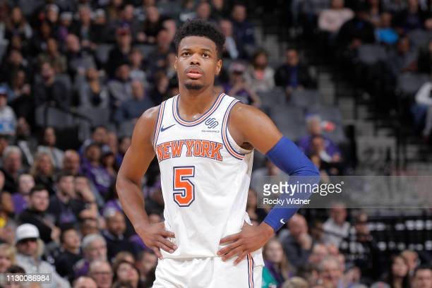 Dennis Smith Jr #5 of the New York Knicks looks on during the game against the Sacramento Kings on March 4 2019 at Golden 1 Center in Sacramento...
