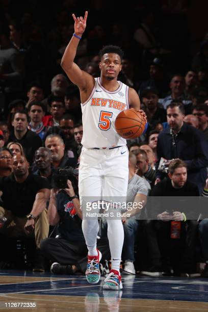 Dennis Smith Jr #5 of the New York Knicks looks to pass the ball during the game against the Minnesota Timberwolves on February 22 2019 at Madison...