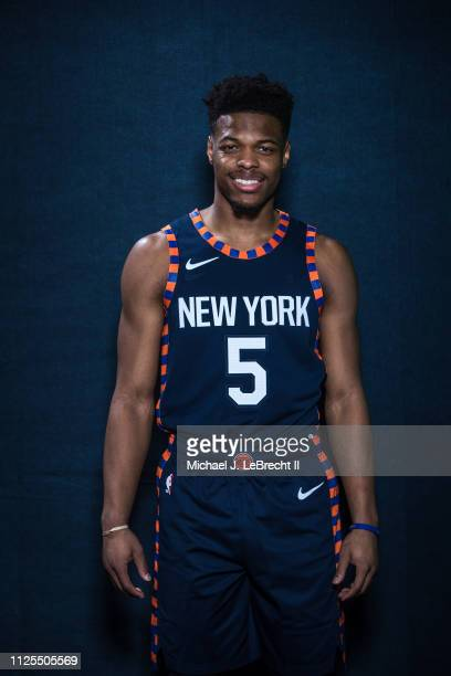 Dennis Smith Jr #5 of the New York Knicks poses for a portrait during the 2019 State Farm AllStar Saturday Night on February 16 2019 at the Spectrum...