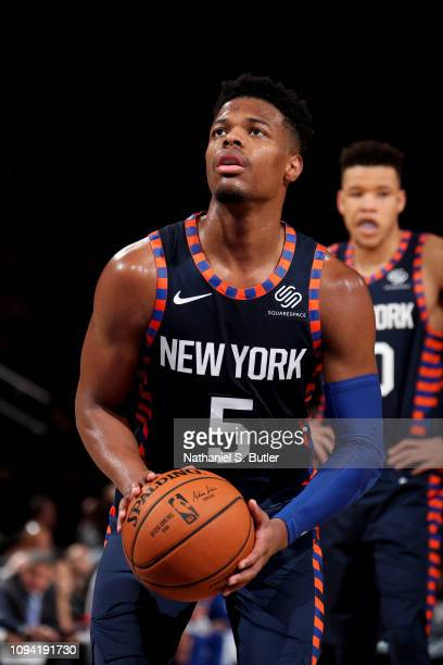 Dennis Smith Jr #5 of the New York Knicks shoots a free throw shot against the Detroit Pistons on February 5 2019 at Madison Square Garden in New...