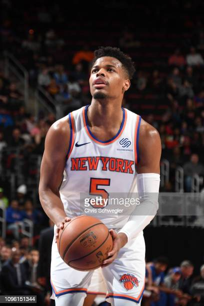 Dennis Smith Jr #5 of the New York Knicks shoots a freethrow during a game against the Detroit Pistons on February 8 2019 at Little Caesars Arena in...