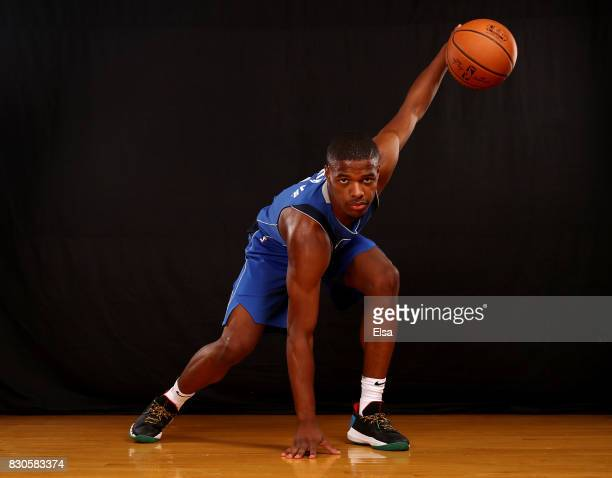 Dennis Smith Jr of the Dallas Mavericks poses for a portrait during the 2017 NBA Rookie Photo Shoot at MSG Training Center on August 11 2017 in...