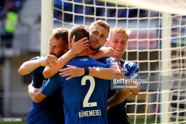 Dennis Srbeny of Paderborn celebrates the third goal with his team mates during the pre-season match between SC Paderborn and Borussia...