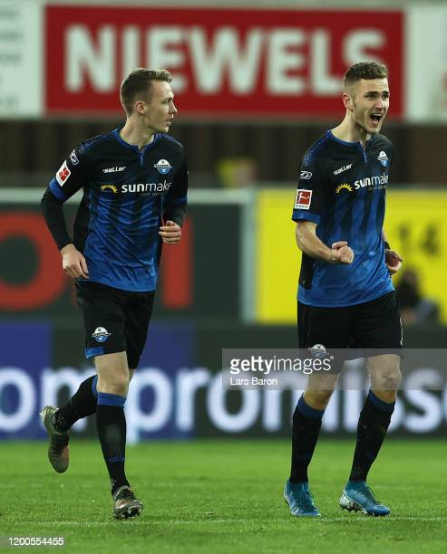 Dennis Srbeny of SC Paderborn celebrates after scoring his sides first goal during the Bundesliga match between SC Paderborn 07 and Bayer 04...