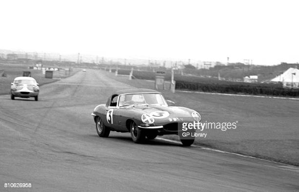 Dennis Taylor driving a Jaguar EType at Aintree GP 4th