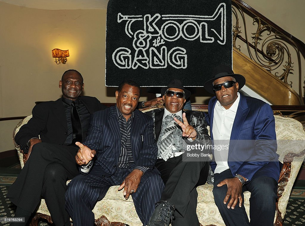 Dennis Thomas, Robert 'Kool' Bell, Ronald Bell and George Brown of Kool & The Gang attends the 2016 New Jersey Hall Of Fame Induction Ceremony at Asbury Park Convention Center on April 7, 2016 in Asbury Park, New Jersey.