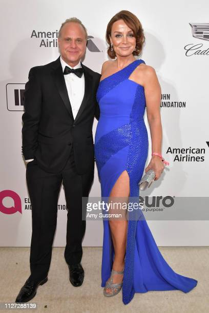 Dennis W Hall and Kristin Cary attend the 27th annual Elton John AIDS Foundation Academy Awards Viewing Party celebrating EJAF and the 91st Academy...