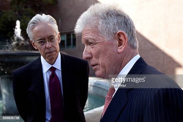 Dennis Wasser lawyer and Michael Kump lawyers for Jaime McCourt Frank McCourt leaving the Los Angeles Superior Courthouse after the first day of his...