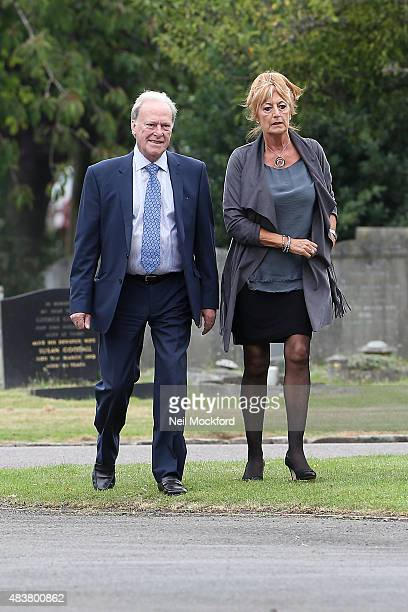 Dennis Waterman with wife Pam Flint attending the Funeral of George Cole at Reading Crematorium on August 13 2015 in Reading England