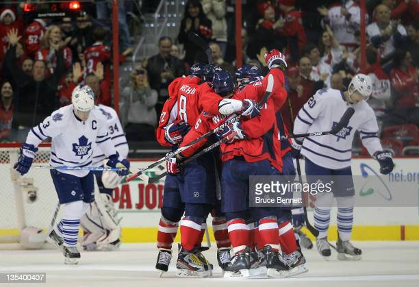 Dennis Wideman of the Washington Capitals celebrates his power play goal at 1233 of the first period against the Toronto Maple Leafs at the Verizon...