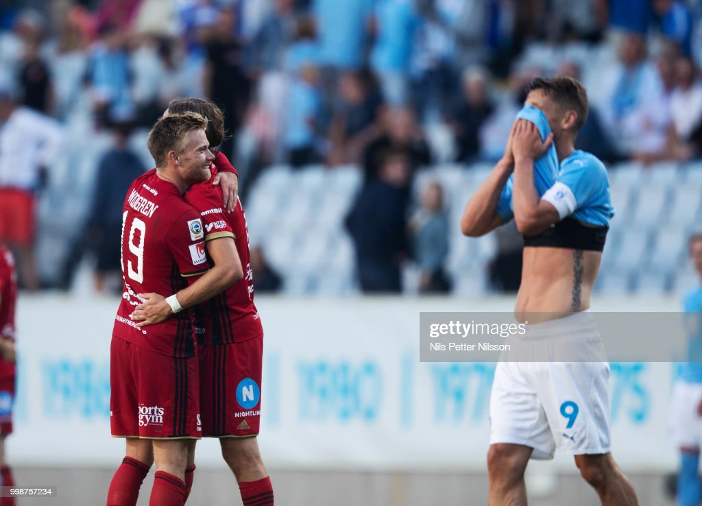 Dennis Widgren and Tom Pettersson of Ostersunds FK after the Allsvenskan match between Malmo FF and Ostersunds FK at Malmo Stadion on July 14, 2018 in Malmo, Sweden.
