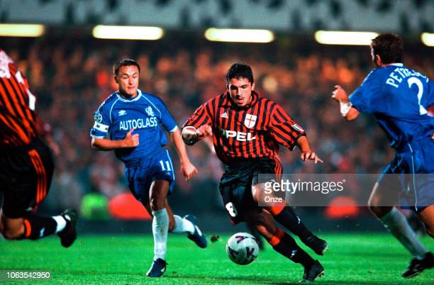 Dennis WIse of Chelsea and Gennaro Gattuso of Milan AC during the UEFA Champions League match between Chelsea and Milan AC at Stamford Bridge London...