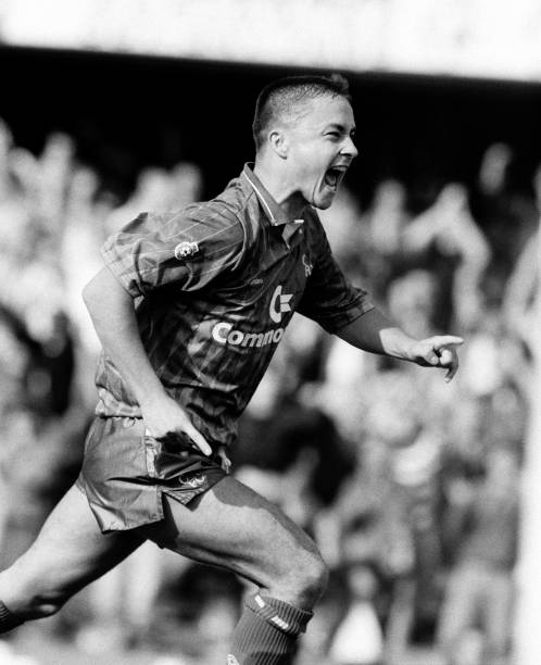 Dennis Wise of Chelsea celebrates after scoring, circa 1990.