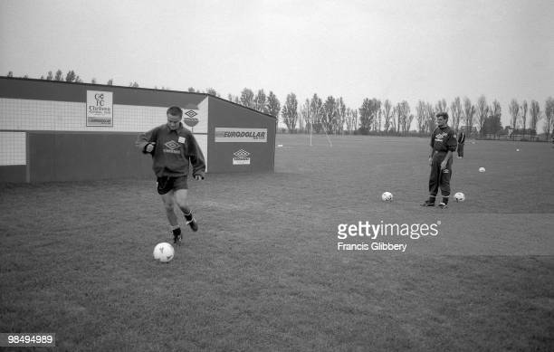 Dennis Wise of Chelsea during a training session held during the 1993/94 FA Carling Premiership season at Harlington in London England