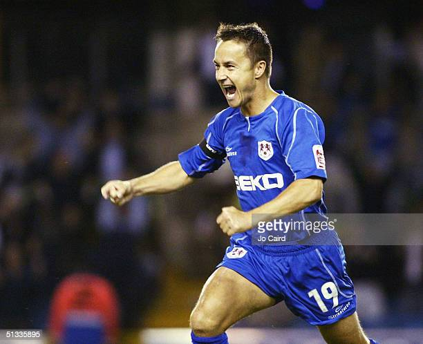 Dennis Wise of Millwall celebrates his goal during the CocaCola Championship League match between Millwall and Derby County at the Withdean Stadium...