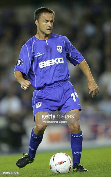 Dennis Wise of Millwall in action during the UEFA Cup first round first leg match between Millwall and Ferencvaros at The New Den on September 16...