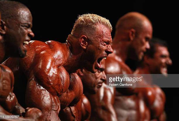 Dennis Wolf of Germany poses during the pre judging of the IFBB Australian Pro Grand Prix XI at Plenary Hall on March 12, 2011 in Melbourne,...