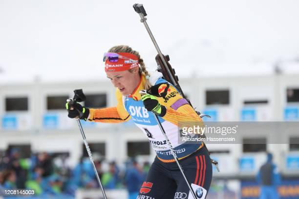 Dennise Herrmann of Germany competes during the Women 12.5 km Mass Start Competition at the IBU World Championships Biathlon Antholz-Anterselva on...
