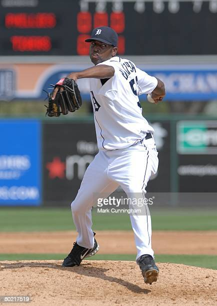 Denny Bautista of the Detroit Tigers pitches during the spring training game against the Philadelphia Phillies at Joker Marchant Stadium in Lakeland...