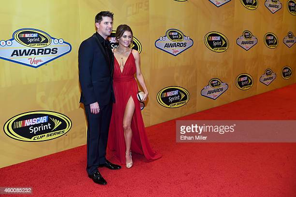 Denny Hamlin and his girlfriend Jordan Fish arrive at the 2014 NASCAR Sprint Cup Series Awards at Wynn Las Vegas on December 5 2014 in Las Vegas...