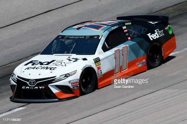 Denny Hamlin driver of the FedEx Darlington Throwback Toyota practices for the Monster Energy NASCAR Cup Series Bojangles' Southern 500 at Darlington...